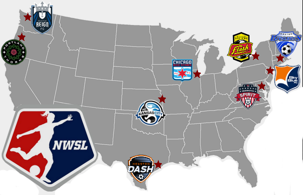 A visual depicting the various NWSL teams scattered throughout the country. Source: http://www.thenerdmachine.com/nwsl-the-best-sports-league-youve-never-heard-of/