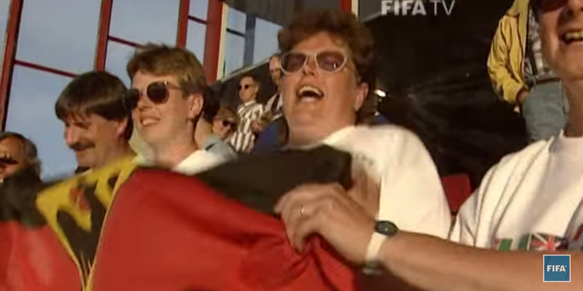 German fans celebrating after a 1-0 victory over China in the semifinals (courtesy of FIFA TV)