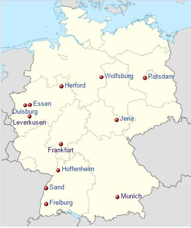 The 12 teams currently competing in the Frauen-Bundesliga are spread across the country.