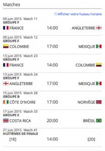 schedule du moncton