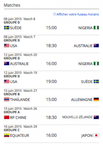 schedule du winnipeg