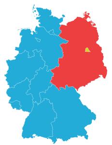 Westdeutschland in Blau, Ostdeutschland in Rot, Berlin in Gelb