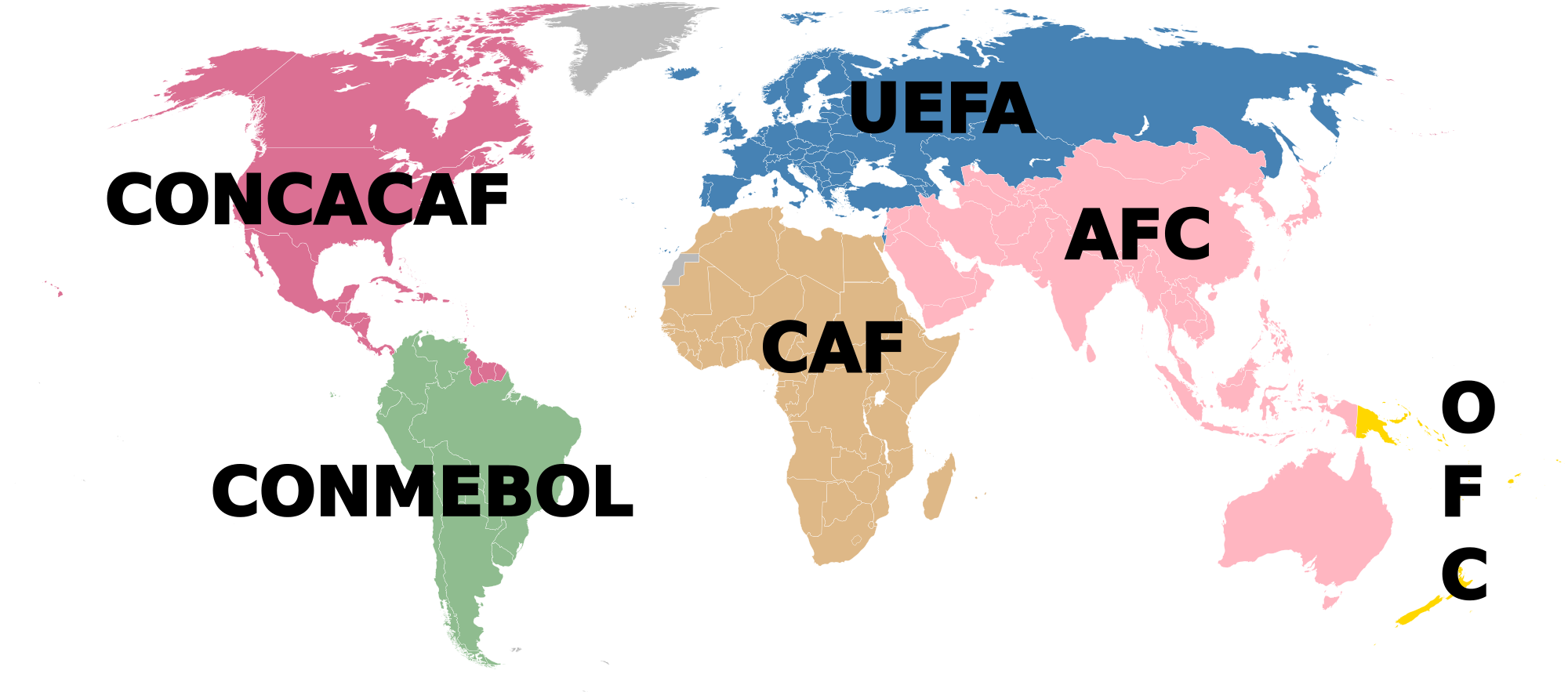 The FIFA Regional Associations Including: The AFC in Asia, CAF in Africa, the Football Confederation (CONCACAF) in North and Central America and the Caribbean, CONMEBOL in South America, UEFA in Europe and the OFC in Oceania. Thumbnail: wikipedia.com https://upload.wikimedia.org/wikipedia/commons/thumb/a/a8/World_Map_FIFA2.svg/2000px-World_Map_FIFA2.svg.png