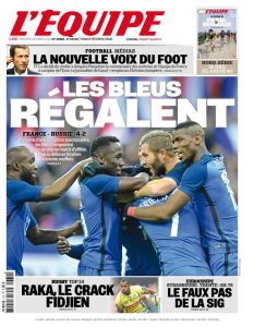 "The cover of the March 30th, 2016 ""L'Équipe"""