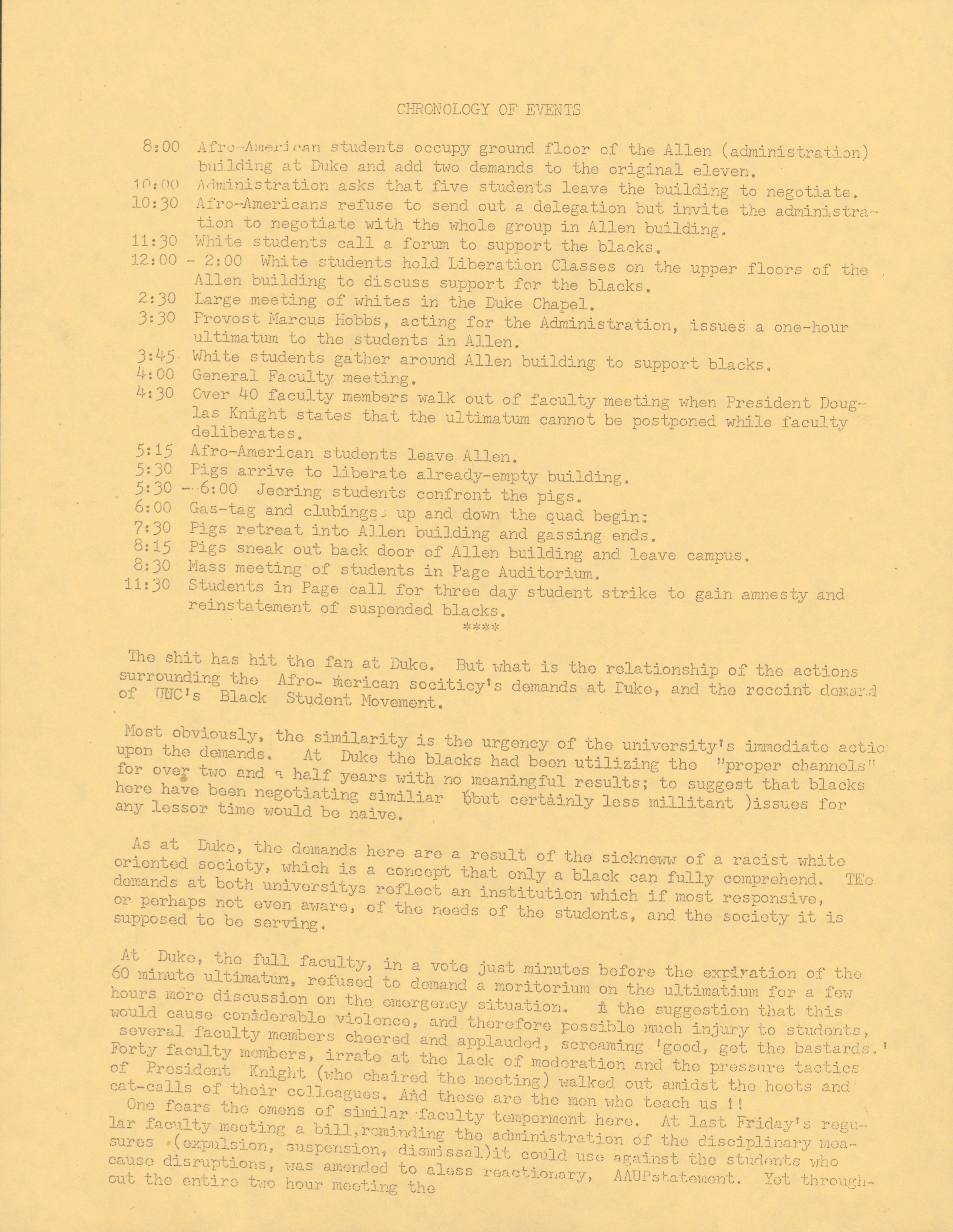 Document showing the events of the Allen Building Takeover on the 13th February 1969.
