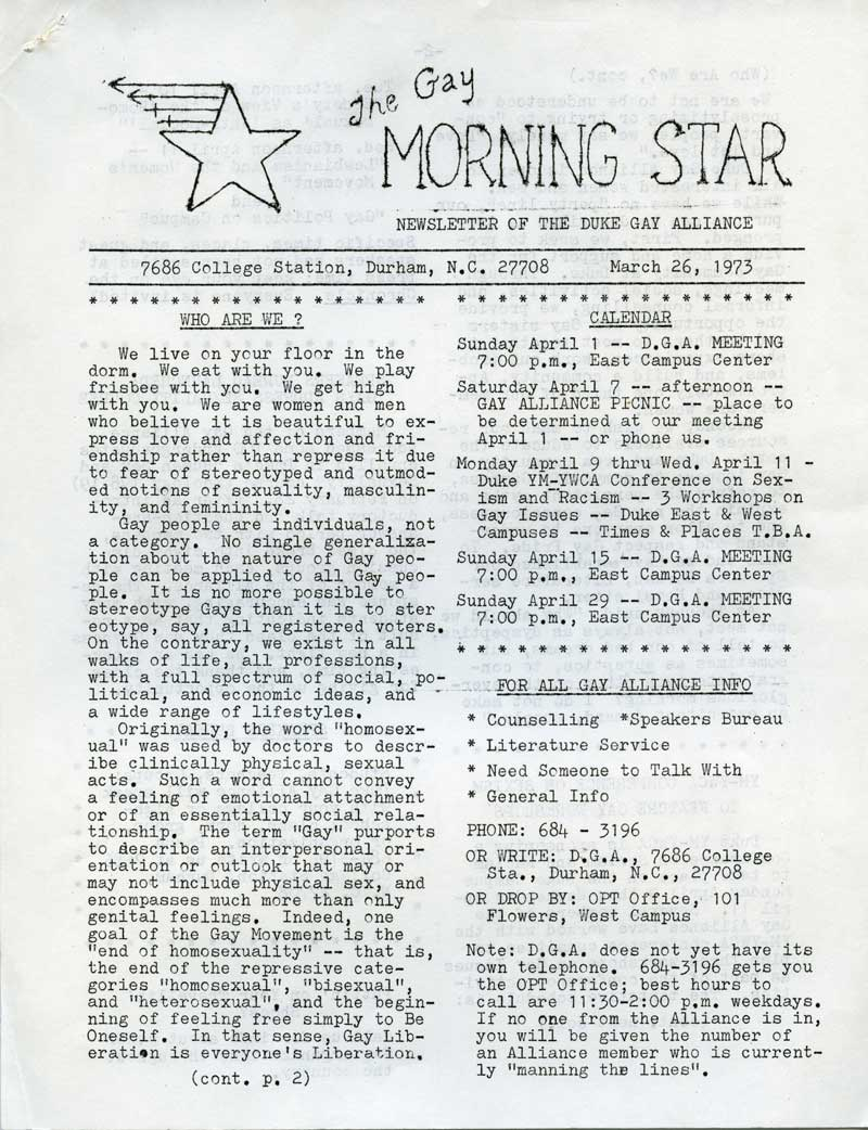 First page of Gay Morning Star, March 26, 1973