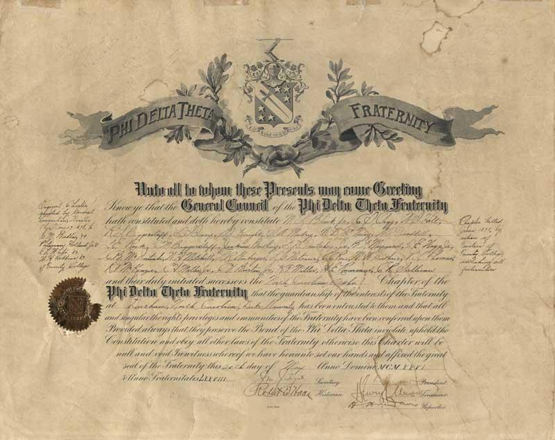 Phi Delta Theta charter, May 20, 1926