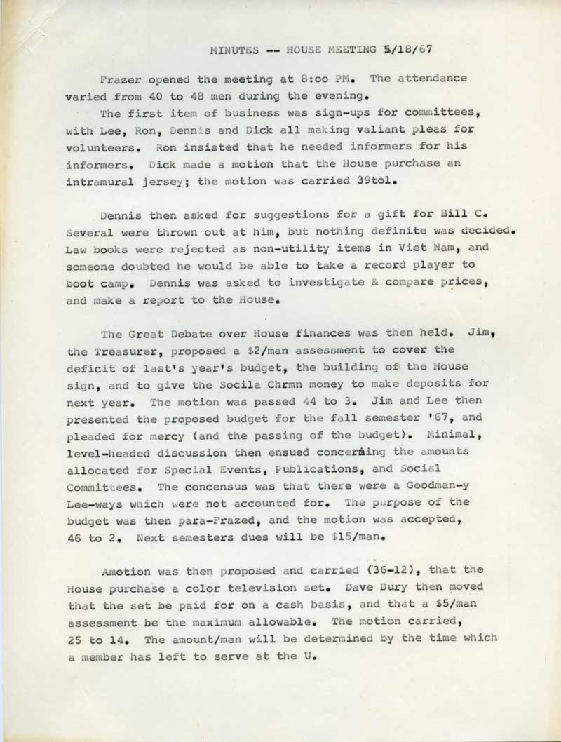 Windsor House Meeting Minutes, May 18, 1967