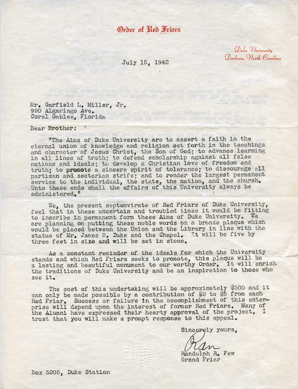 Plaque contributions letter, 1942
