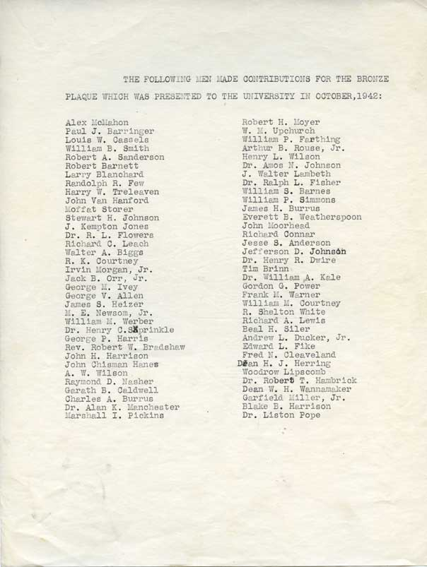 Plaque contributions contributors list, 1942