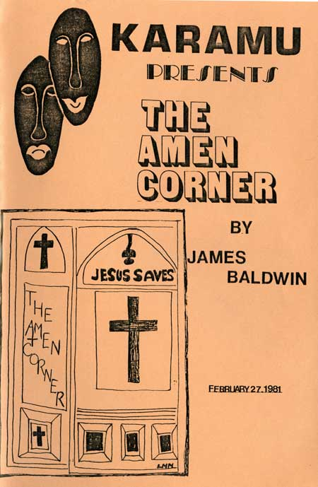 "Cover of ""The Amen Corner"" program, February 27, 1981. From the Student Organizations Reference Collection, 1913-ongoing."