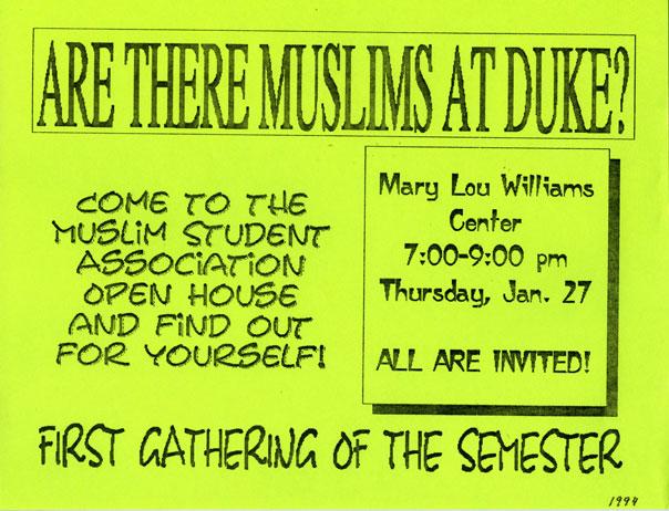 Muslim Student Association flyer, 1994