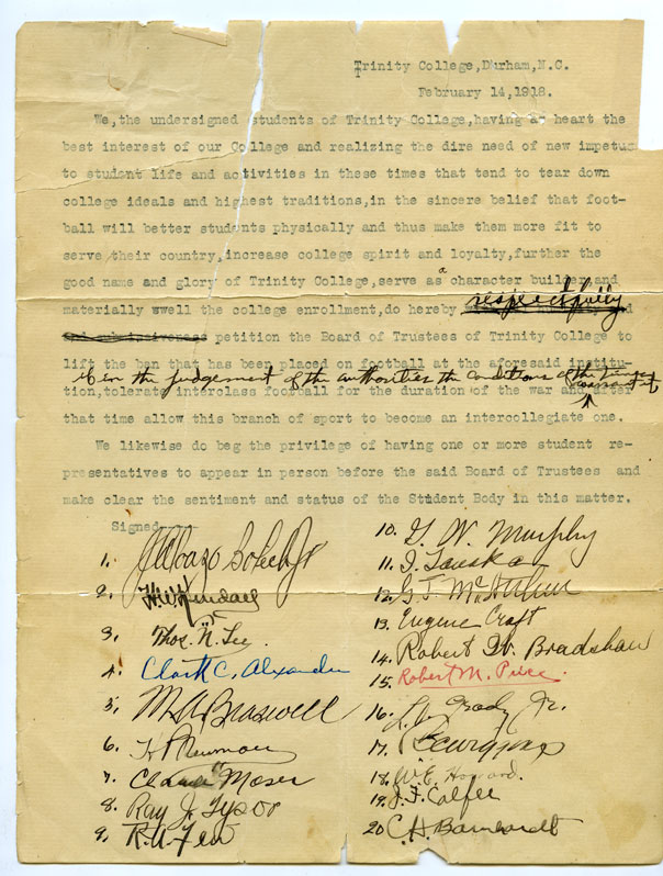 Page one of football petition, February 14, 1918