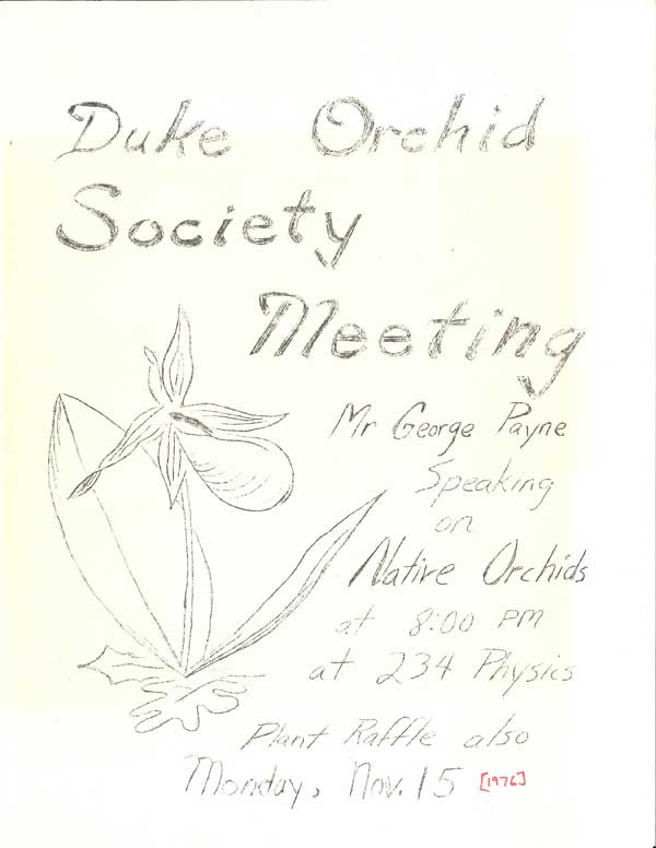 Duke Orchid Society flyer, 1976